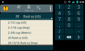"Making sure that the resize button is dimmed (not being used) enter the value ""20"" and select ""fluid oz (US)"" from the units pop-up. Results are automatically displayed."