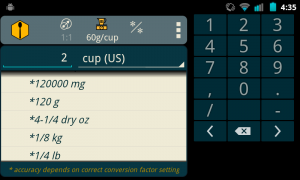 #2 Results: Enter the value (2) and select the original units (cup). Scroll the results to display the desired units (grams). So 2 cups (US) of cracker crumbs should weigh 120g